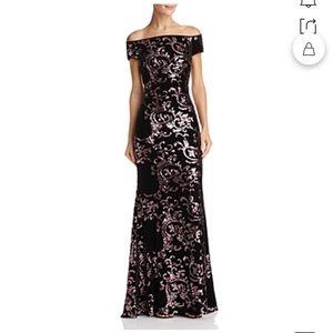 Eliza J Purple Velvet Off Shoulder Dress 6 NWT